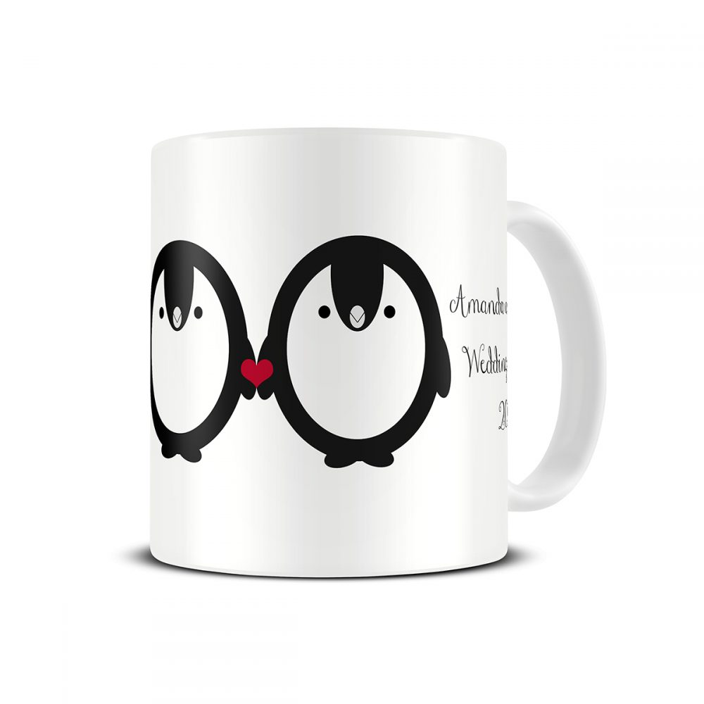 penguin engagement mug